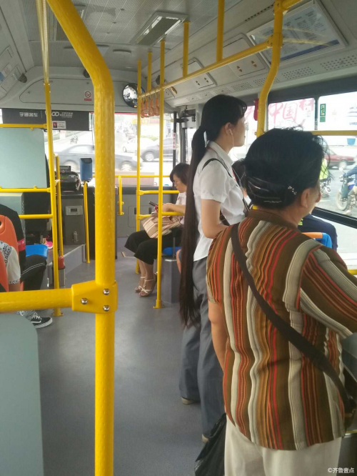 Long hair on bus in Jinan city