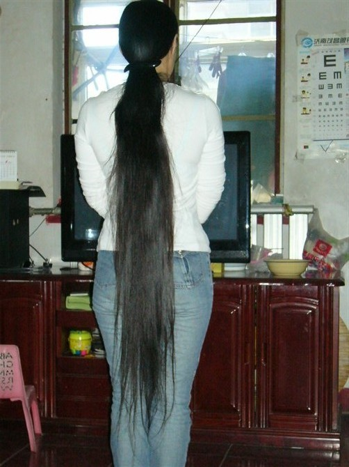Calf Length Long Hair In 3 Different Hairstyles