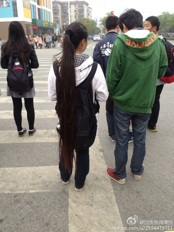 Streetshot of super long ponytail