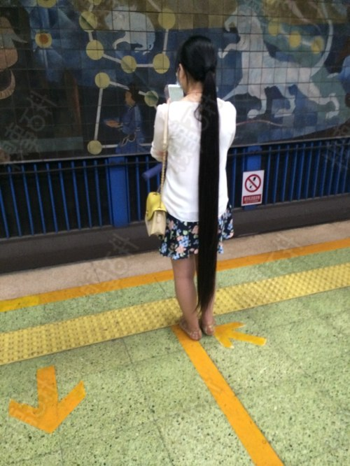 Super long ponytail almost touch ground