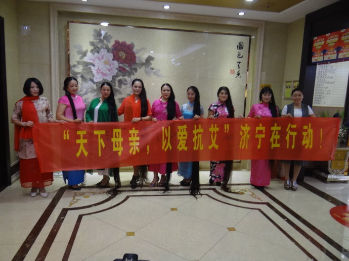 7 ladies shew super long hair in Jining