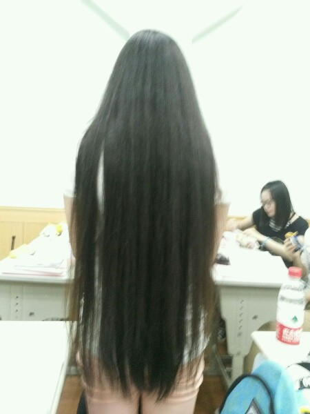 Hip length long hair student