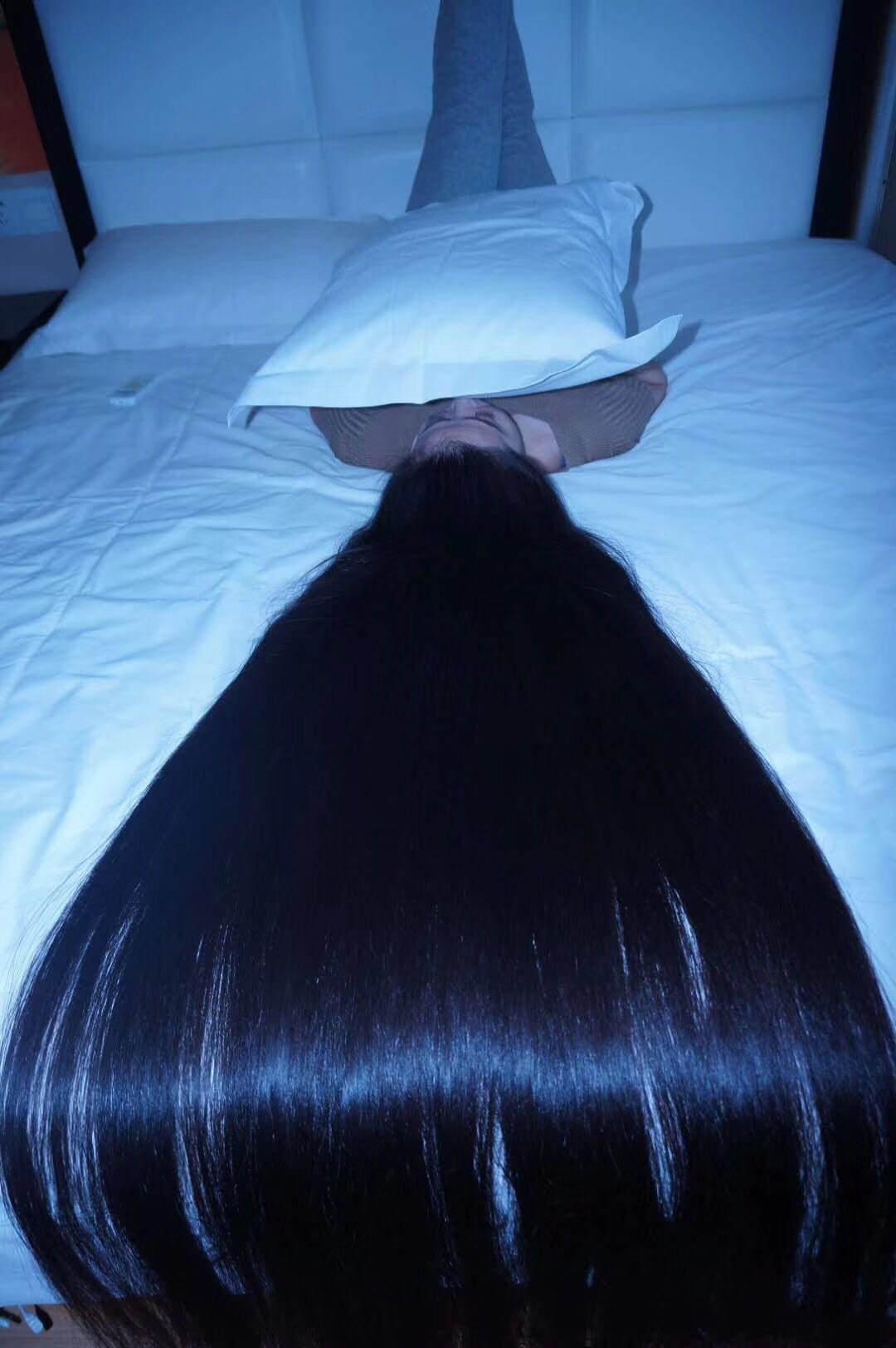 Very beautiful long hair lie on bed