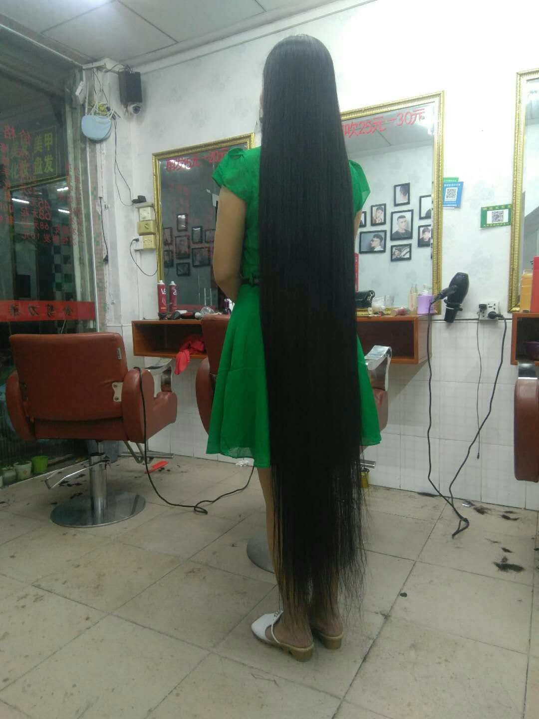 Floor length long hair in hair salon